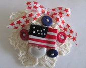 Patriotic 4th Of July Lace Button Brooch With Flag Red White And Blue Jewelry