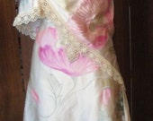 Vintage Cecil Beaton Designed Hand Painted Silk Fabric Skirt and Shawl