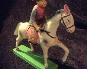 Vintage Celluloid Cowboy on Horse