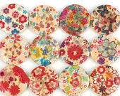 Wooden Buttons - 10 pcs Painted Wood Buttons Floral Design Assortment 20mm - ButtonStand