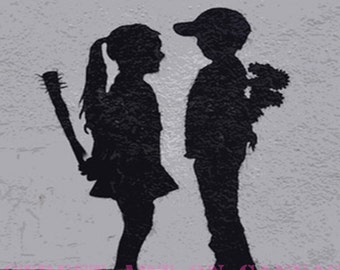 Banksy canvas Boy Meets Girl Street Art Grafitti Premium Print