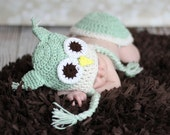 Mint Green and Ecru Whimsicle Owl Hat ,with earflaps and Braids Many Sizes preemie newborn, 0-3 month,3-6 month , 6-12 month, 1-3yr