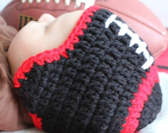 Monday Nite FOOTBALL Team  Crochet Earflap  hat Boy or girl Ready for Football Preemie, newborn, 0-3 month, 3-6 month, 6-12 month, 1-3 yr