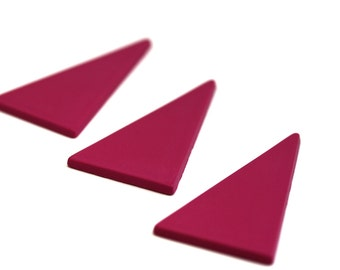 90s' Purple Triangles. Vintage Geometric Fluo Form. 3 Pieces.