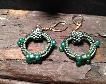 Earrings: Aqua Green Hoops, Seed Beads, Beadwoven