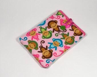Monkeys Kindle Cover, Handmade Monkeys eReader Case, Pink Monkeys Kindle Sleeve