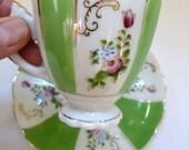 Vintage Teacup Set - Floral and Green Striped