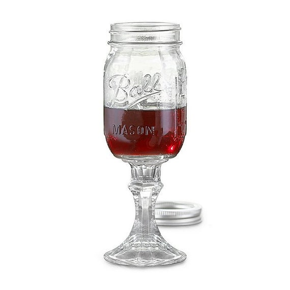 "Set of Two ""Red Neck Wine Glasses"" Made from Original Mason Jars"