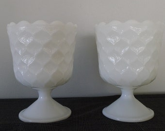 Milk glass EO Brody compote pair