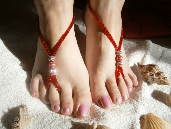 Red Barefoot Sandles, Barefoot sandals, Slave Anklet, Nude Shoes, Bridal sandals, Beach Wedding