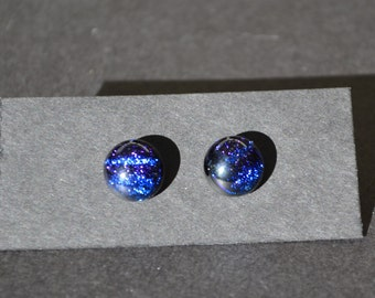Blue Stripe Dichroic Fused Glass Earrings - Post