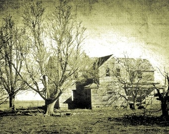 Monochromatic Photography, farm house, homestead, haunted house, weathered, olive green, black, Country Home Decor, Fine Art Print