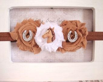 Brown Horse Headband-Baby Girl Headband-Preemie-Newborn-Infant-Child-Toddler Headband-Teen-Adult-Farm Animal-Pony-Country