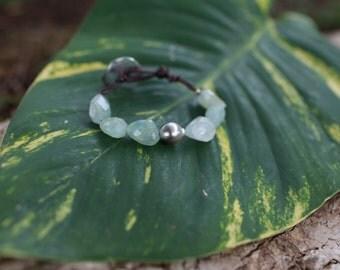 aquamarine ,tahitian pearl and leather bracelet