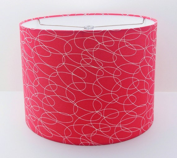 red lampshade drum shade lamp shade home decor table lamp 12 x 9. Black Bedroom Furniture Sets. Home Design Ideas