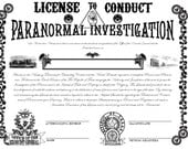 Steampunk Paranormal Investigator's License for PDF printout