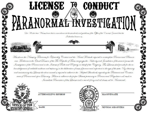 Items similar to steampunk paranormal investigator 39 s for Fishing license il