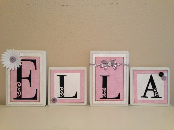 Nursery Decor Hanging Wall Letters : Child baby name letters hanging wall by