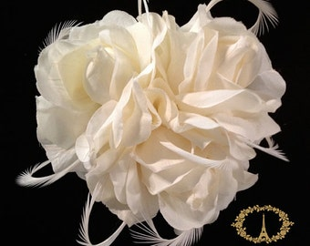 "Ivory Bridal Hair Accessories, Wedding Head Piece, Bridal Hair Clip, Fascinator, Floral & Feather Hair Accessory ""COLETTE"""