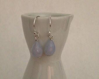 Blue chalcedony faceted tear drop sterling silver earrings