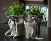 Hessian sacking plant herb pot covers with velvet, linen and grosgrain ribbon. Luxury rustic style. - RupertsHouse