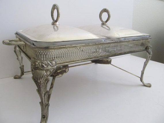 Double Chafing Dish Silver Plated Made In Brazil Casserole