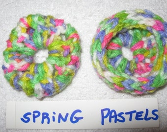 SPRING PASTELS  Ear Pads - Cushions - Cookies for Phone Headset, Call Center, Hand-crochetted, NEW.