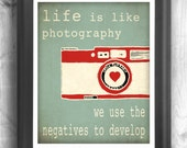Typographic poster, Quote art, inspirational print, wall decor, digital print, red, teal, camera print, camera decor
