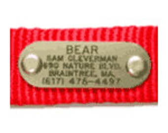 "Brass Nameplate ""Quiet Collar"" Pet Dog ID Tag Engraved Identification"