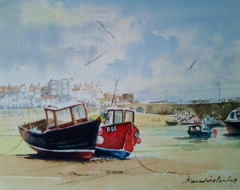 St Ives Harbour, Cornwall, U.K. watercolour painting.