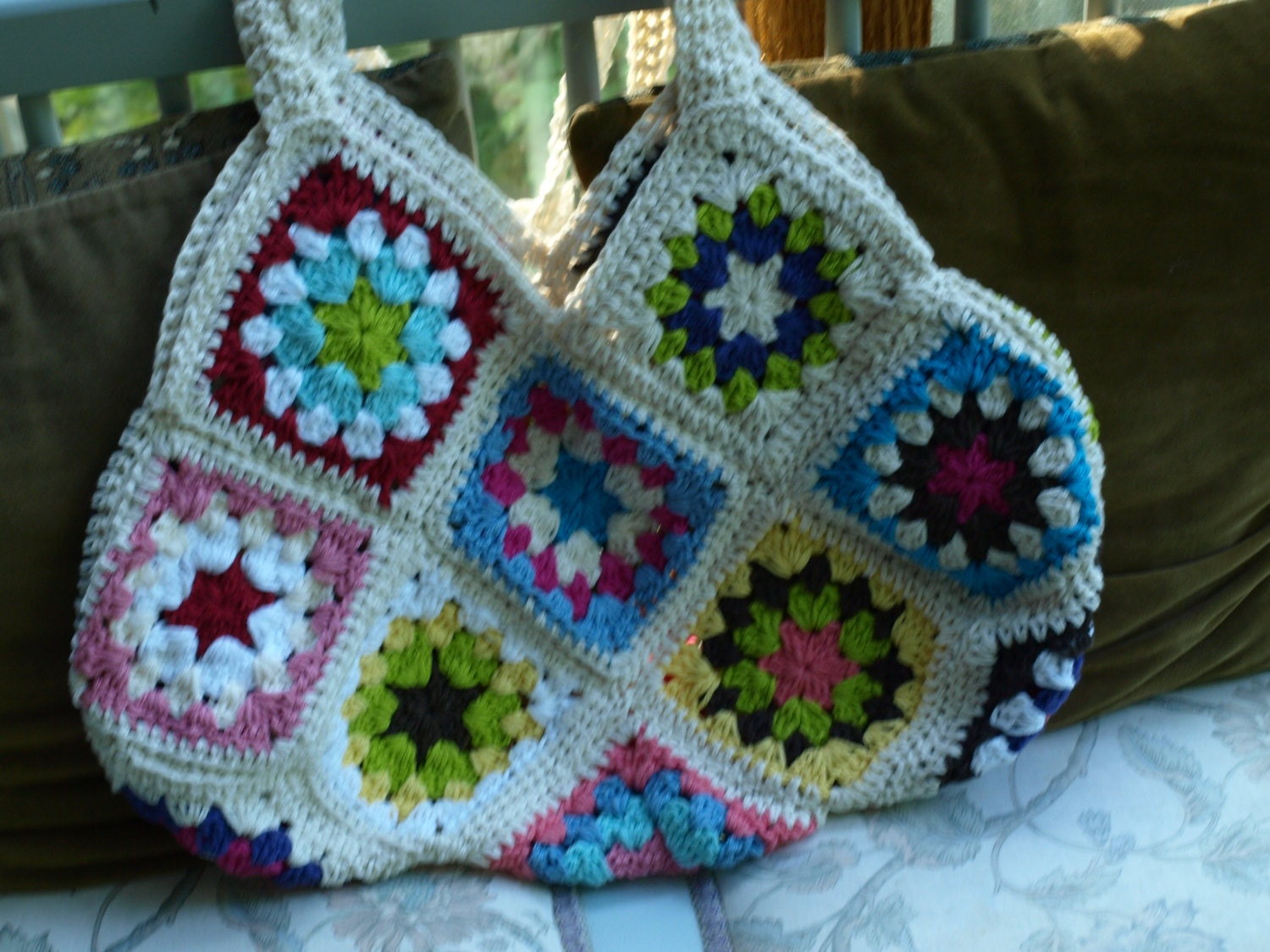 Crochet Granny Square Purse : Crochet granny square purse/ bag by TheEdgeBoutique on Etsy