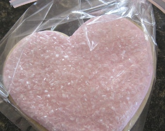 Valentine cookies, pink heart decorated cookies, sparkly sugar cookies