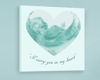 Miscarriage Remembrance Sonogram Frame, I carry you in my heart - 16x16 on Canvas - Miscarriage Memorial