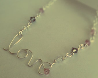 Gorgeous wire LOVE necklace with Swarovski crystal accent