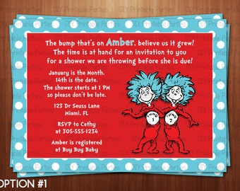 Printable DIY Blue And Red Dr. Seuss Thing 1 Thing 2 Personalized Twin Baby  Shower