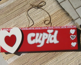 Valentines Day Cupid hand painted wood  sign