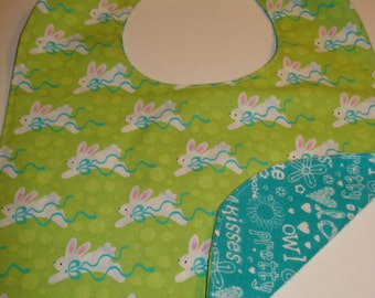 Easter Bunny Cotton Reversible Baby Bib with Snap