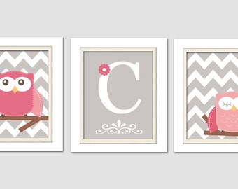 Nursery Art Trio, Nursery Owl Art, Grey and Pink Nursery, Owl Nursery, Set of 3 8x10, Personalized