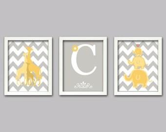 Elephant and Giraffe print, Set of 3, 8X10, childrens art, kids room decor, nursery wall art, 8x10 prints