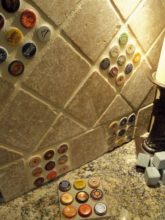Items similar to bottlecap backsplash tile on Etsy
