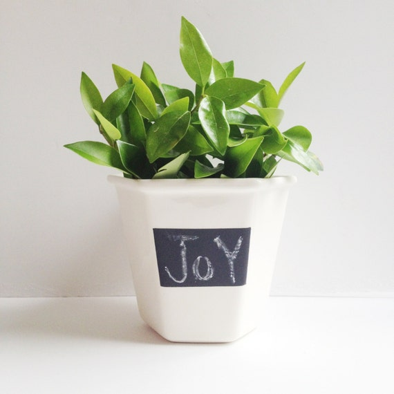 Handmade Ceramic Plant Pot - Plant Pot - Chalkboard Paint