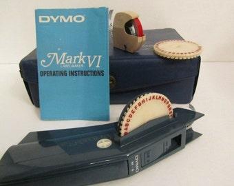 Dymo label printer, Typewriter , label maker, embossing tool,retro, mid century, label kit, printer, 1966