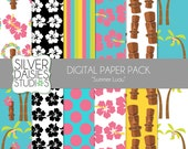 "Summer Luau Digital Paper 12 Pack- INSTANT DOWNLOAD - 12""x12"" Summer Luau Hawaiian Themed Set - Digital Scrapbooking - hibiscus, palm tree"