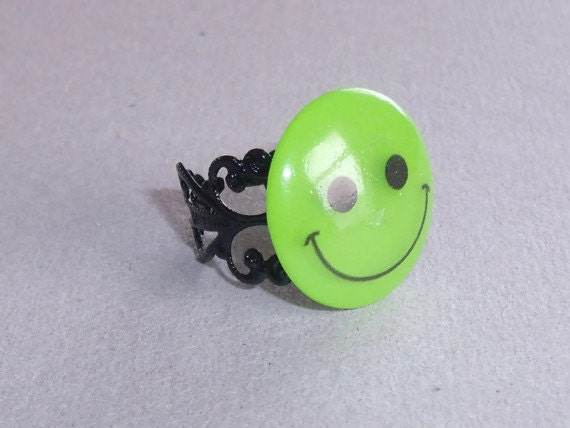 lime green smiley face adjustable ring summer fun by