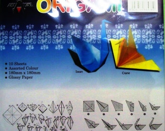 40 Glossy Origami Paper assorted Color 180mm x 180mm
