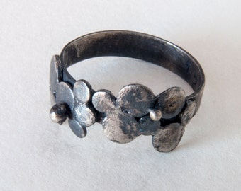 SPRING SALE 20% OFF Silver bubble ring raw dark ring