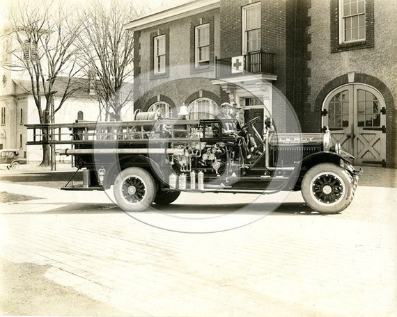 Old Fire Truck Photo Vintage Black & White fire department Fire Truck Early Fire Department 1920's fireman ladder truck firefighter gift