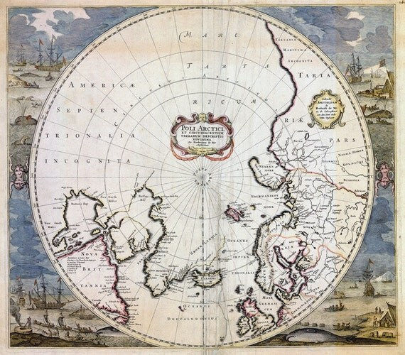 LARGE Vintage historic old world map of arctic north pole Frederick de Wit style fine art print poster