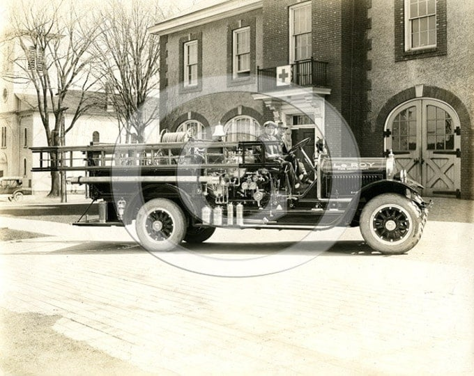 Old Fire Truck Photo Vintage Black & White Le Roy Fire Truck Early Fire Department 1920's fireman ladder truck Fine Art firefighter Photo