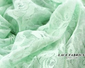 Stretch Lace Fabric by the Yard, MINT GREEN Wedding Lace Fabric, Bridal Lace Fabric  1 Yard style 216